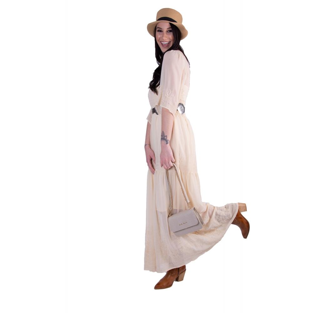 FRACOMINA EMBROIDERED LONG DRESS FR20SMBESS - 514 VANILLACREAM