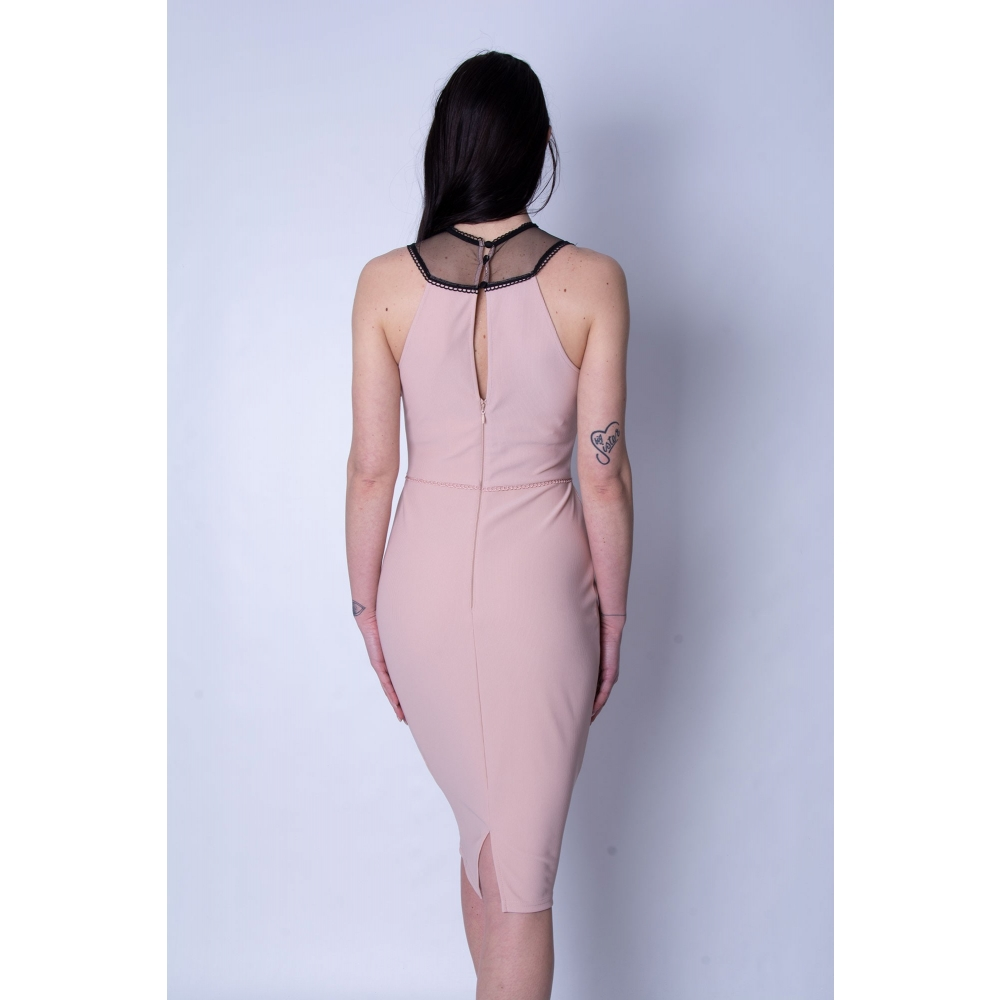 LIPSY EVENING TIGHT MIDI DRESS AH7840 NEUTRAL BLACK