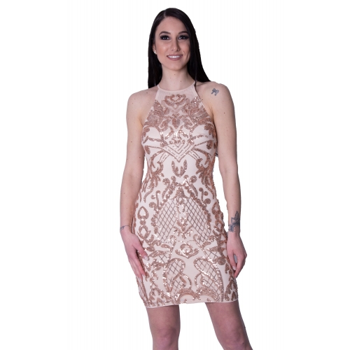 LIPSY EVENING TIGHT MIDI DRESS AH7872   NUDE