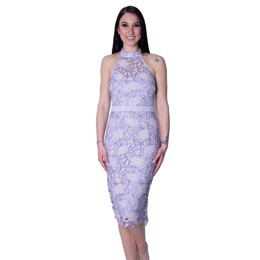 LIPSY EVENING LACE TIGHT MIDI DRESS AH7863 PURPLE