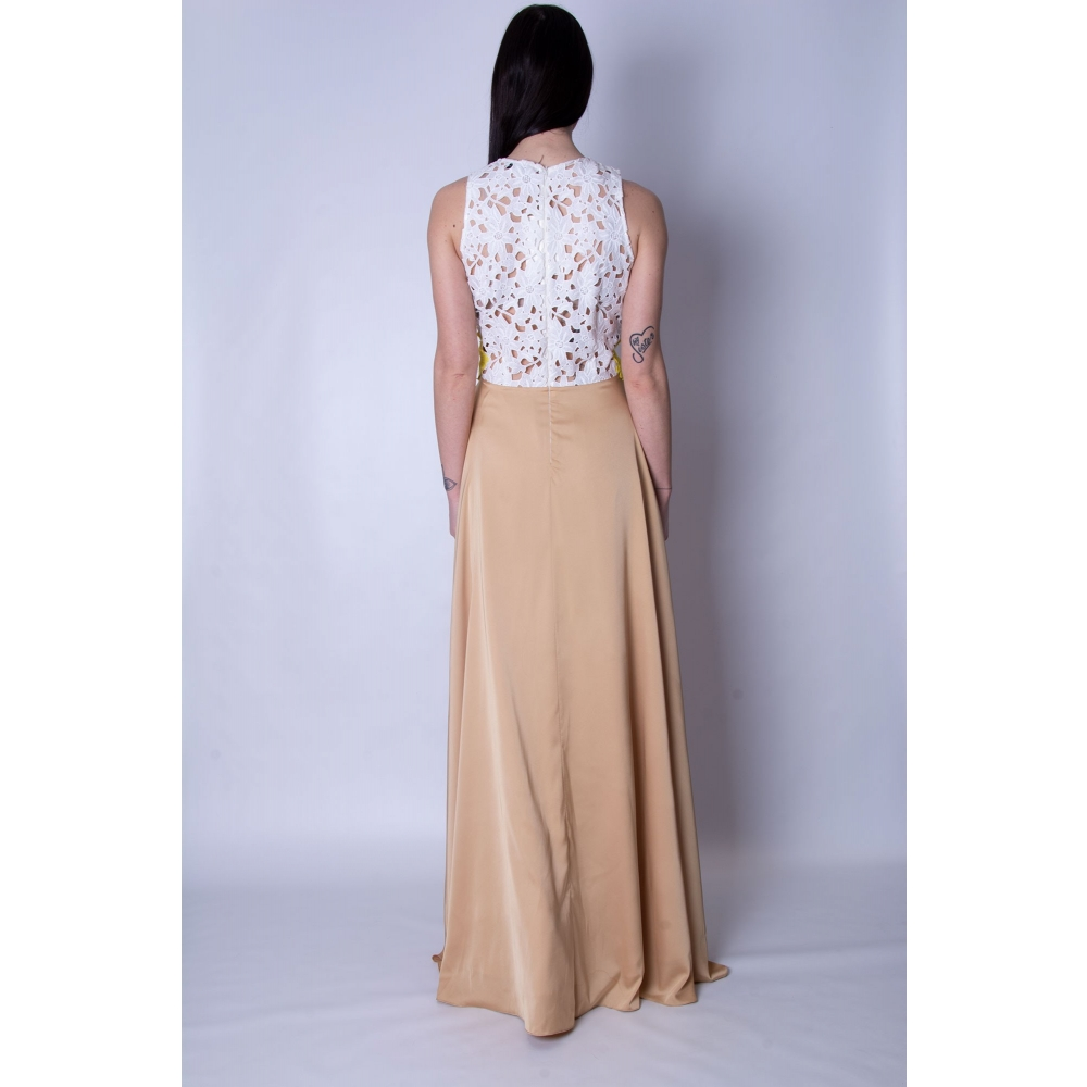 JULY TWO EVENING GOLD LONG DRESS ANTHESIS - 410 WHITE - GOLD