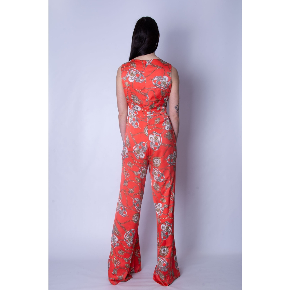 ALLURE EVENING FULL BODY PANTS T2738 CORAL PRINT