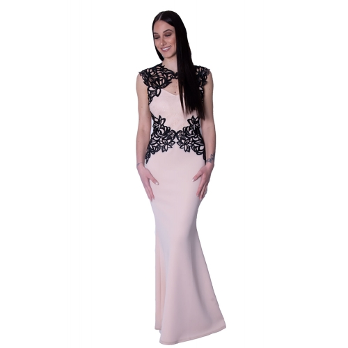 LIPSY EVENING MERMAID LONG DRESS EX00317 NUDE
