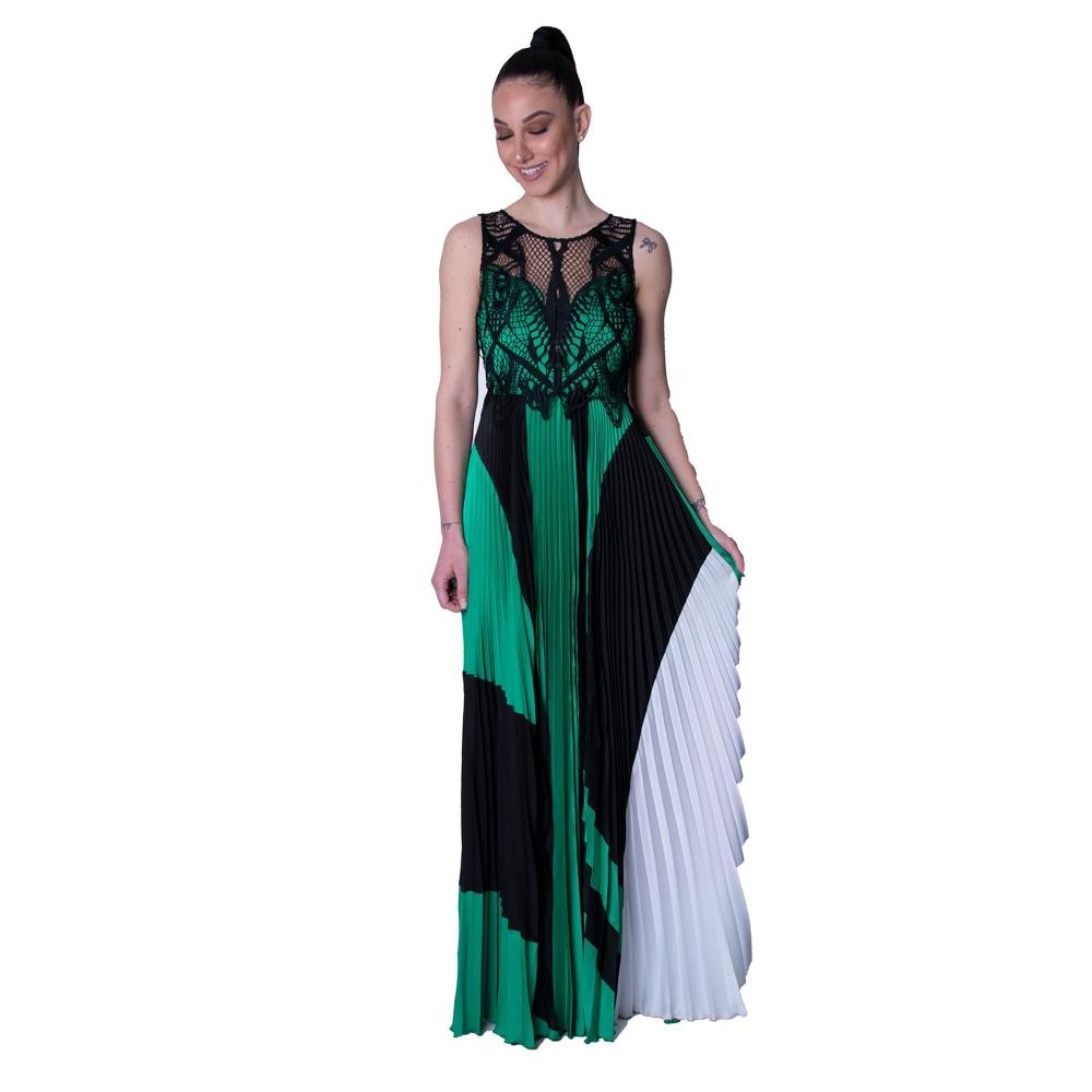 MISCHALIS EVENING LONG DRESS 7974-A  BLACK- GREEN
