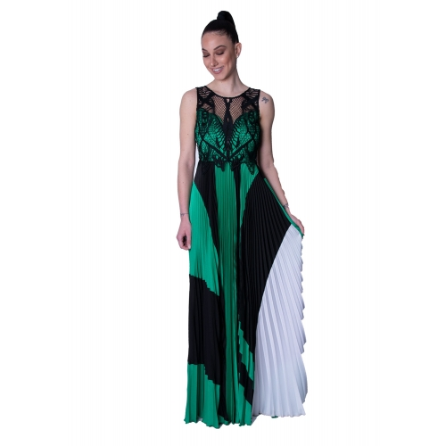 MISCHALIS EVENING LONG DRESS 7974-A  BLACK- GREEN