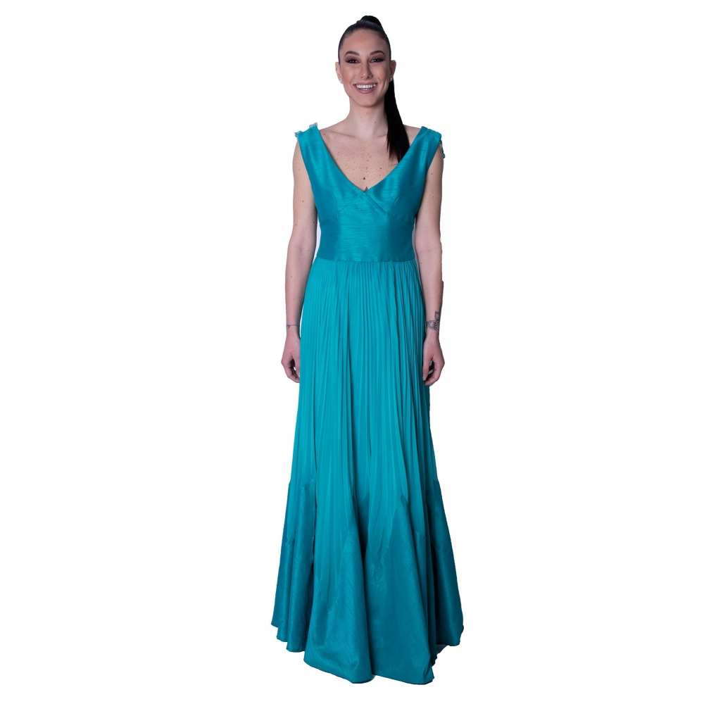 MISCHALIS EVENING LONG DRESS H7828 PETROL