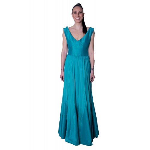 MISCHALIS EVENING LONG DRESS H7828 PETROL