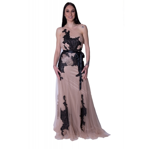 MISCHALIS EVENING TULLE MERMAID LONG DRESS 7968-A NUDE/BLACK