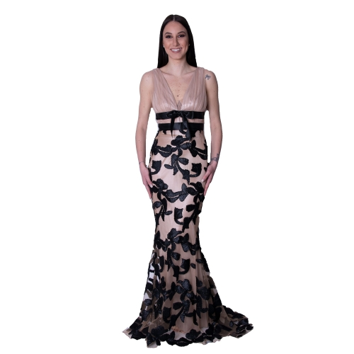 MISCHALIS EVENING TULLE MERMAID LONG DRESS 7969- A  NUDE/BLACK