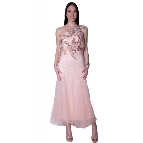 MISCHALIS EVENING TULLE MERMAID LONG DRESS K3-8057 ROSE