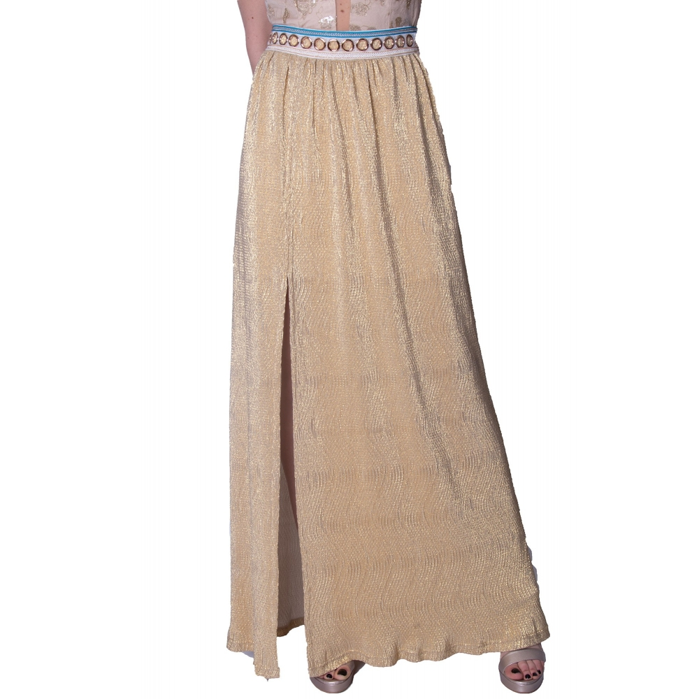 L EDITO EVENING LONG GOLD SKIRT JUPE SCARATI GOLD