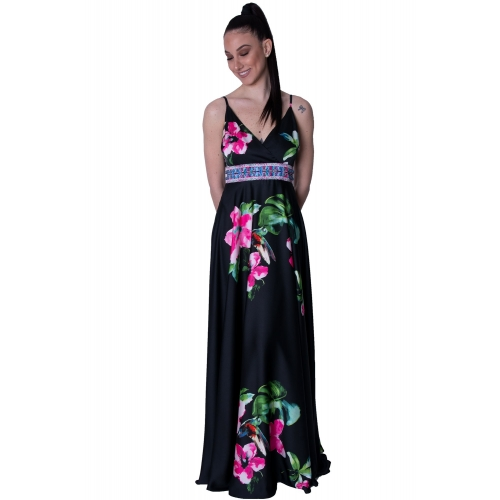WINS EVENING BLACK PRINT LONG DRESS. T2741 BLACK