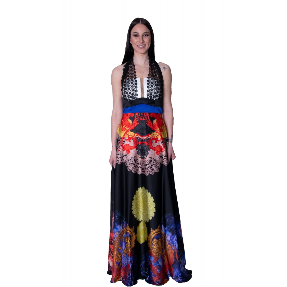 MISCHALIS EVENING FLORAL LONG DRESS.  K2-8092 FLORAL