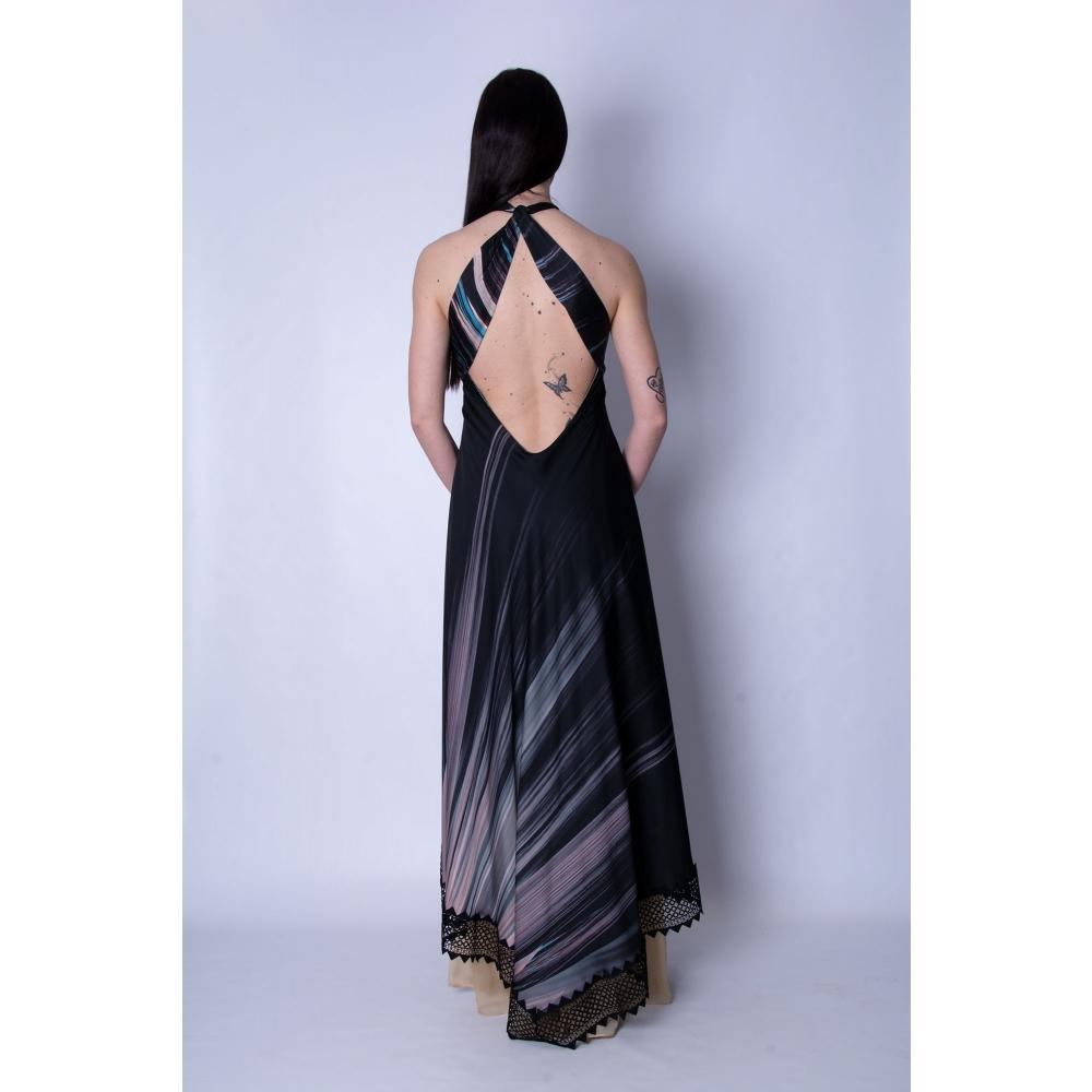 MISCHALIS EVENING BLACK PRINT LONG DRESS.