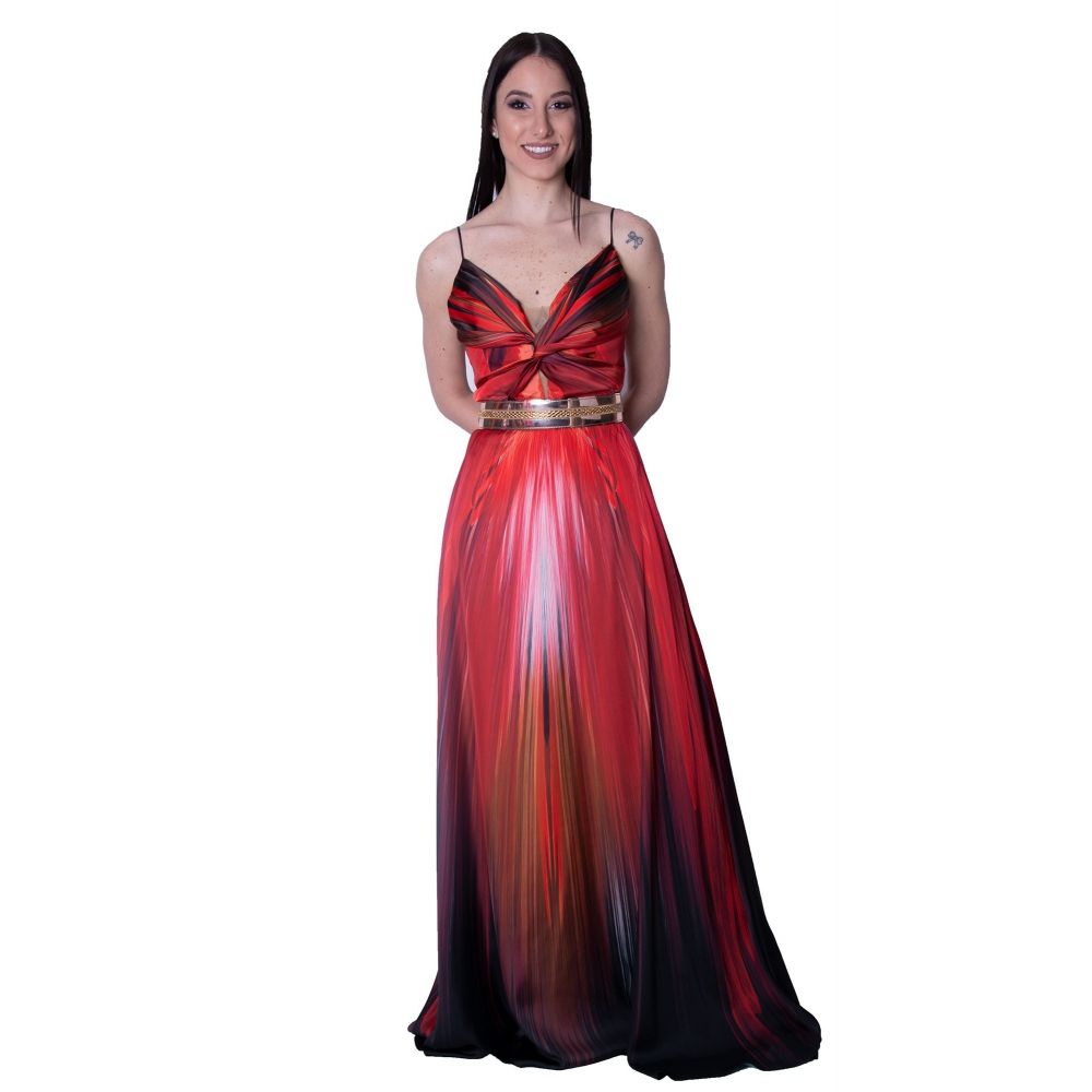MISCHALIS EVENING RED SATIN LONG DRESS  K2-8101  RED