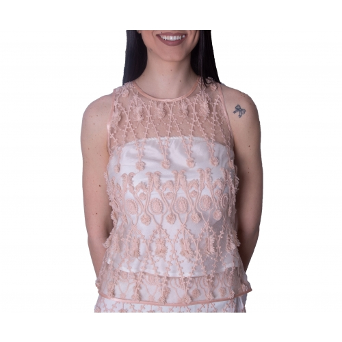 MISCHALIS EVENING EMBROIDERY TOP H4520 :NUDE