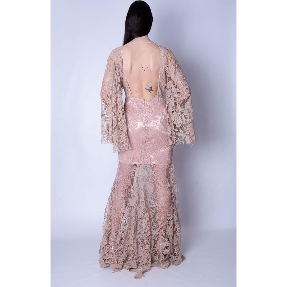 BONJOUR MADEMOISELLE EVENING LACE MERMAID LONG DRESS