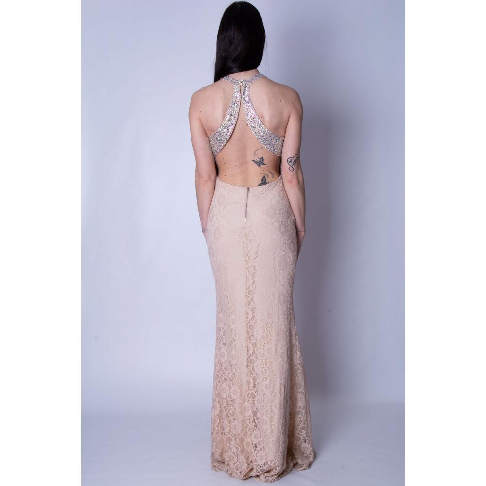 JOENIA EVENING LACE MERMAID LONG DRESS 1517-A-18 NUDE