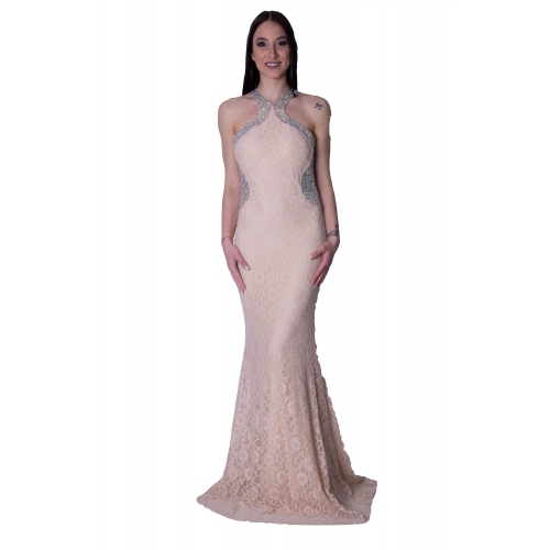 JOENIA EVENING LACE MERMAID LONG DRESS 1517-A-18 NUDE