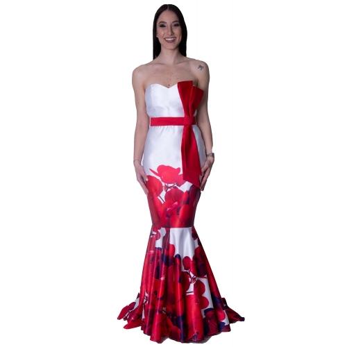 MISCHALIS EVENING SATIN MERMAID LONG DRESS 7955-A Red / WHITE