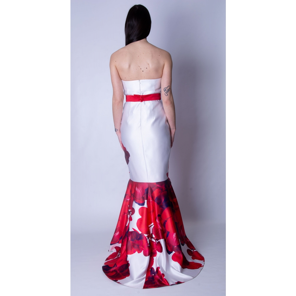 MISCHALIS EVENING SATIN MERMAID LONG DRESS 7955-A Red / WHITE