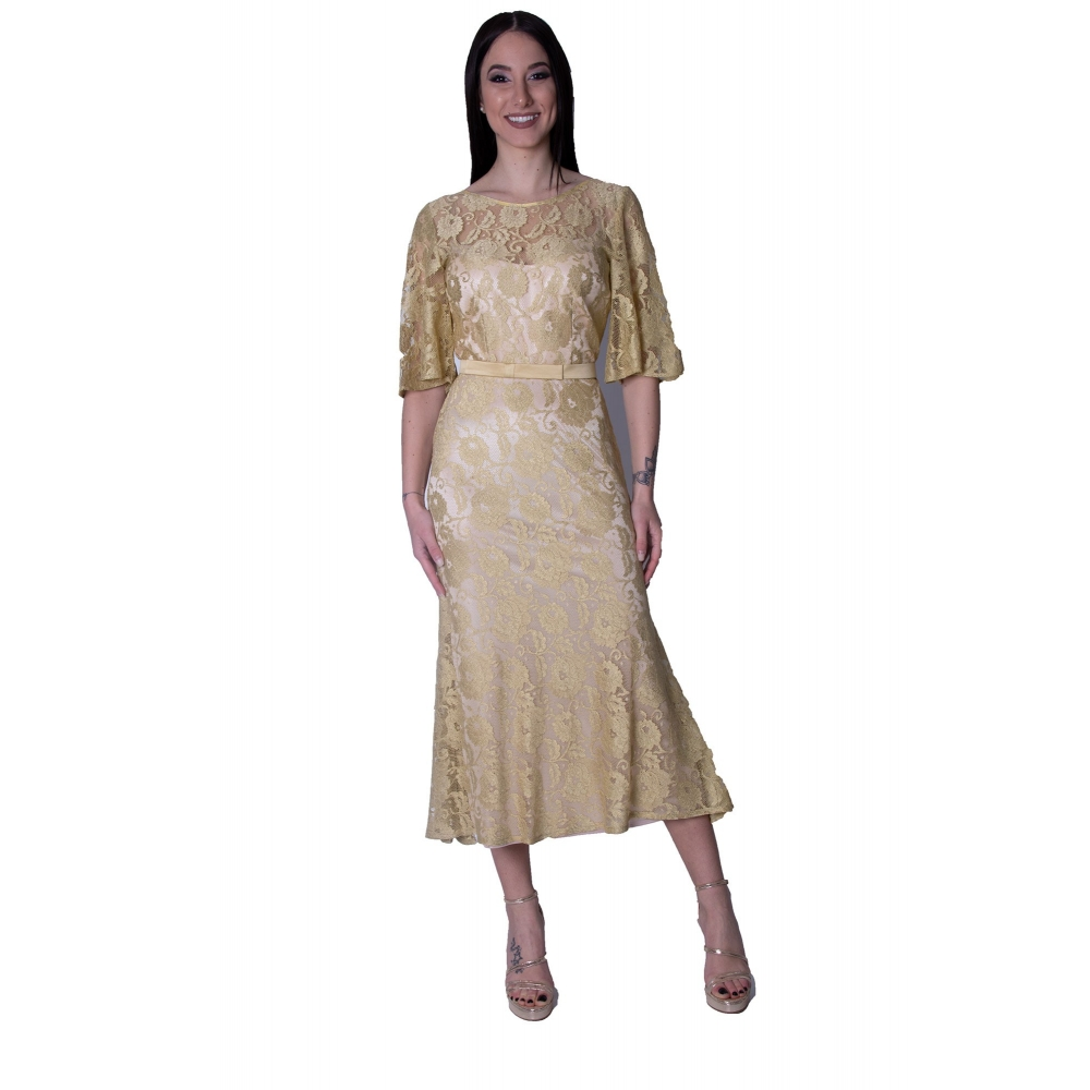 MISCHALIS EVENING LACE MINTI DRESS H7775 GOLD