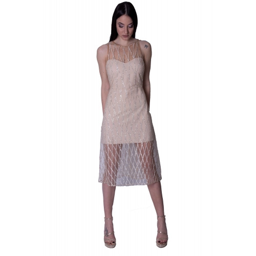 ANNA SAMOUKA EVENING GLAMOROUS MINTI DRESS NA10551 NUDE