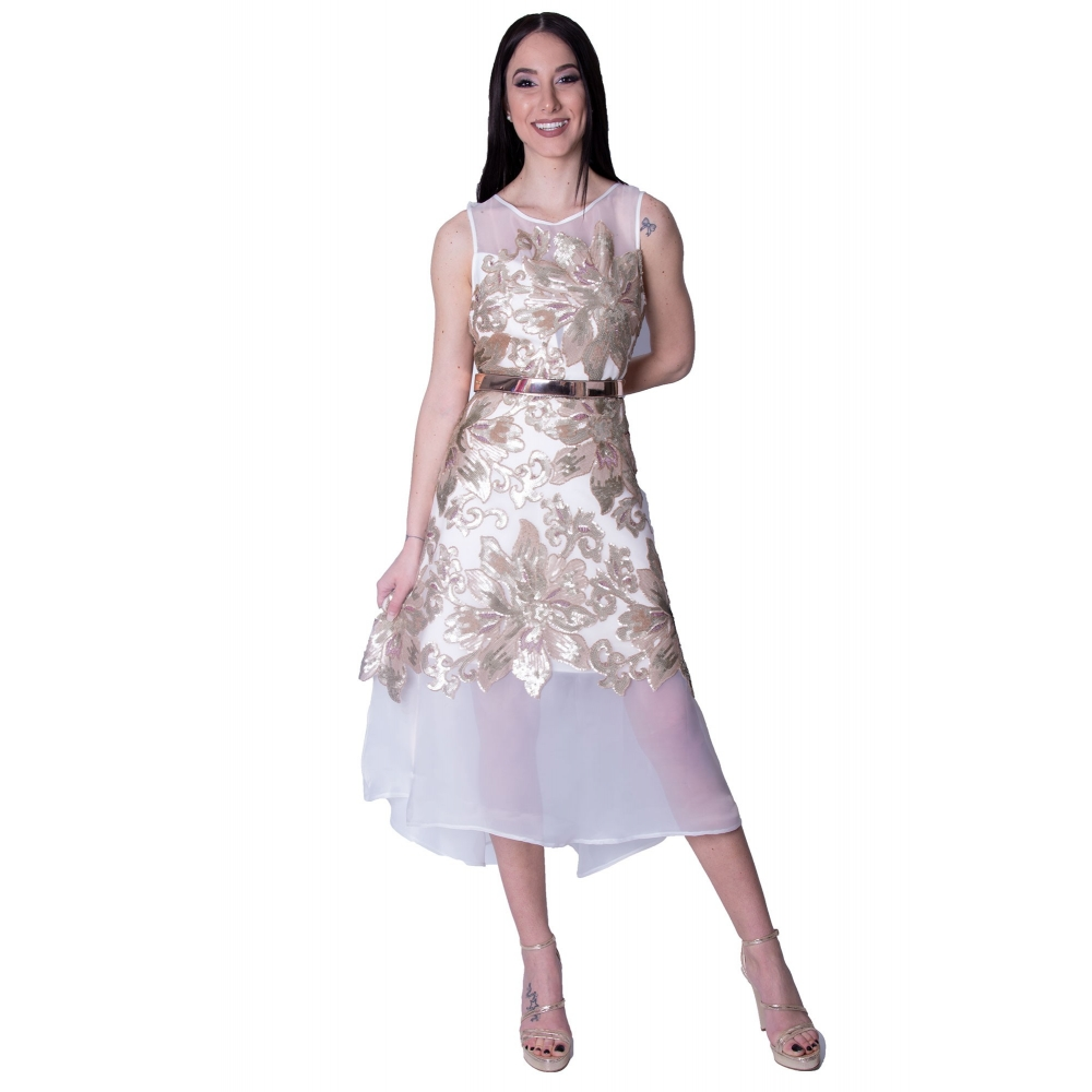 MISCHALIS EVENING GLAMOROUS MINTI DRESS K3 - 8102 WHITE/GOLD