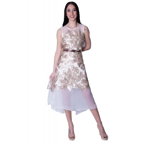MISCHALIS EVENING GLAMOROUS MINTI DRESS K3 - 8102 WHITE/GOLD