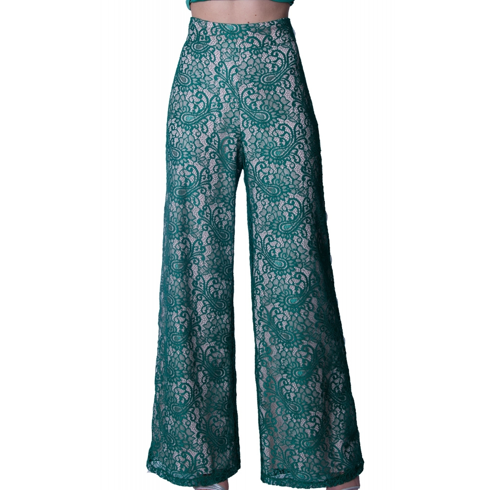 DAK EVENING LACE PANTS  DTR001S18049 ΠΡΑΣΙΝΟ