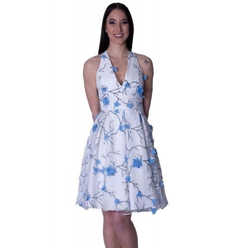 DAK EVENING FLORAL MINTI DRESS  DS17097069 WHITE/BLUE
