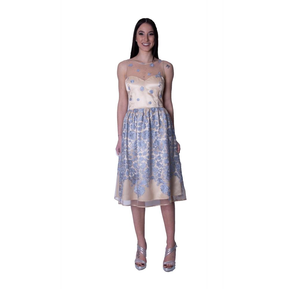 DAK EVENING EMBROIDERY MINTI DRESS DS17013088  BIEGE/ BLUE