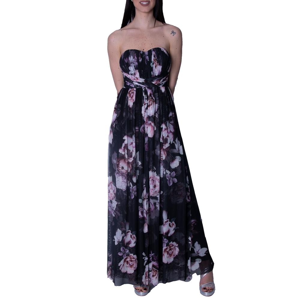 LIPSY EVENING FLORAL POLYMORPHIC LONG DRESS AH7588 BLACK PRINT
