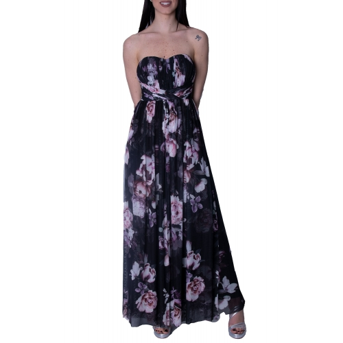 LIPSY EVENING FLORAL POLYMORPHIC LONG DRESS AH7588 BLACK PRINT