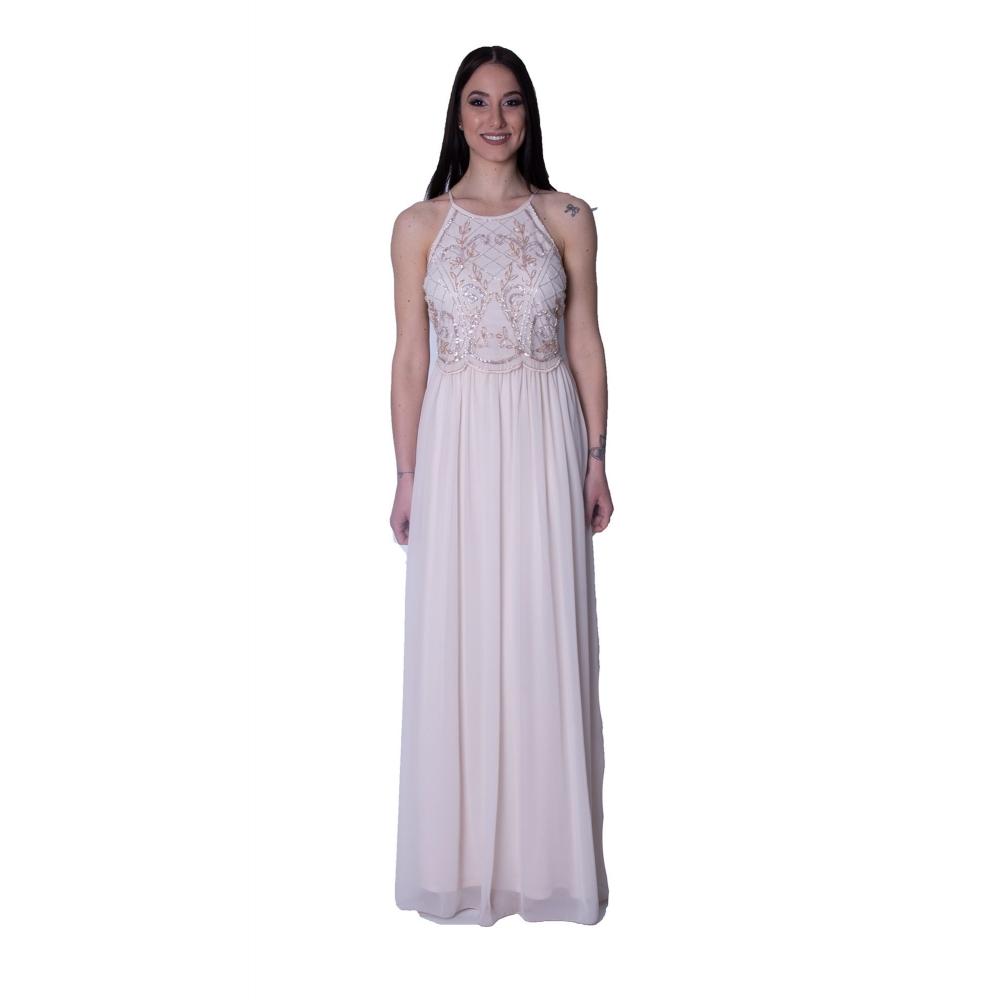 LIPSY EVENING LONG DRESS AH7653  NUDE