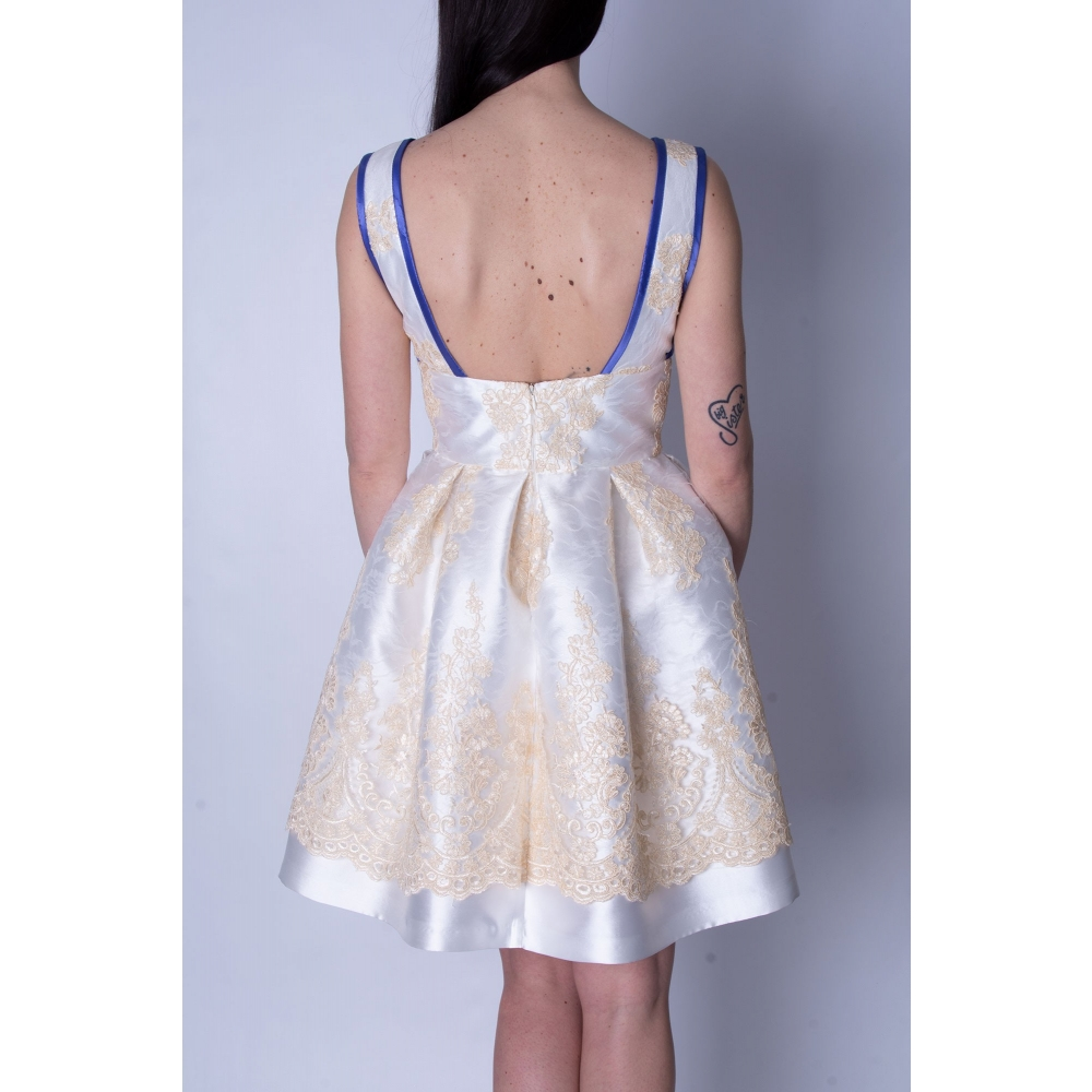 MISCHALIS EVENING MINI EMBROIDERY DRESS MK17-7899 ΕΚΡΟΥ ΙΒΟΥΑΡ