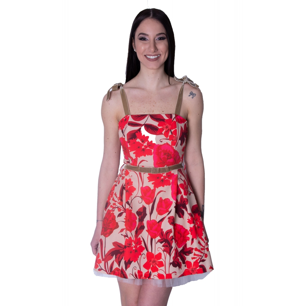 RINASCIMENTO FLORAL SATIN MINI DRESS CFC0016746002  FLORAL