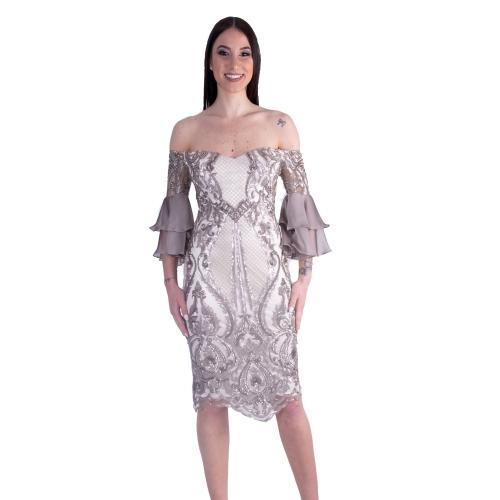 MISCHALIS EVENING MINTI DRESS K2-8097 ΑΣΗΜΙ/ΓΚΡΙ