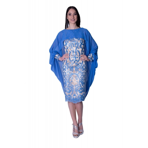 MISCHALIS EVENING MIDI EMBROIDERED DRESS K3-3595 BEIGE/BLUE