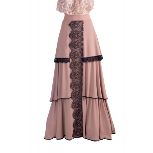 MISCHALIS EVENING LONG SKIRT MK17-6304 BEIGE