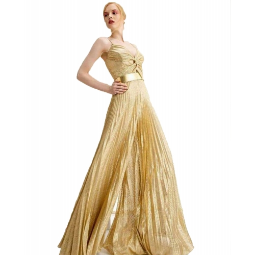 MISCHALIS EVENING GOLD GLAMOROUS JUMPSUIT K3-5335 GOLD
