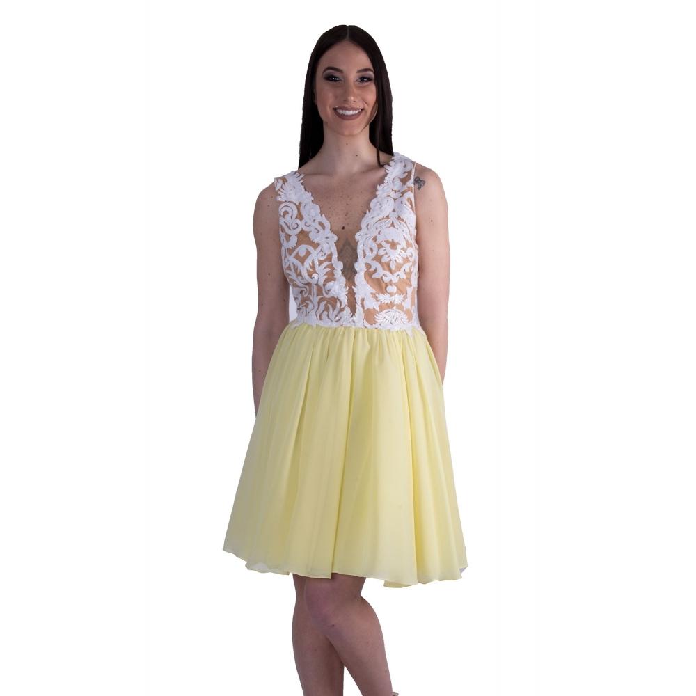 EFI EVENING MIDI TULLE DRESS DRESS300-312 ΛΕΥΚΟ / ΚΙΤΡΙΝΟ