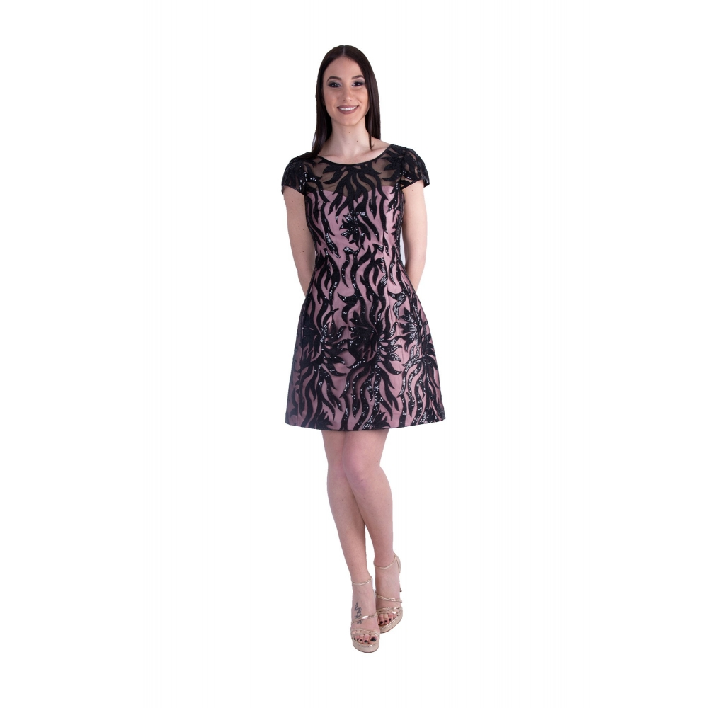 MISCHALIS EVENING TULLE MINI DRESS K3-750701 BLACK/PINK