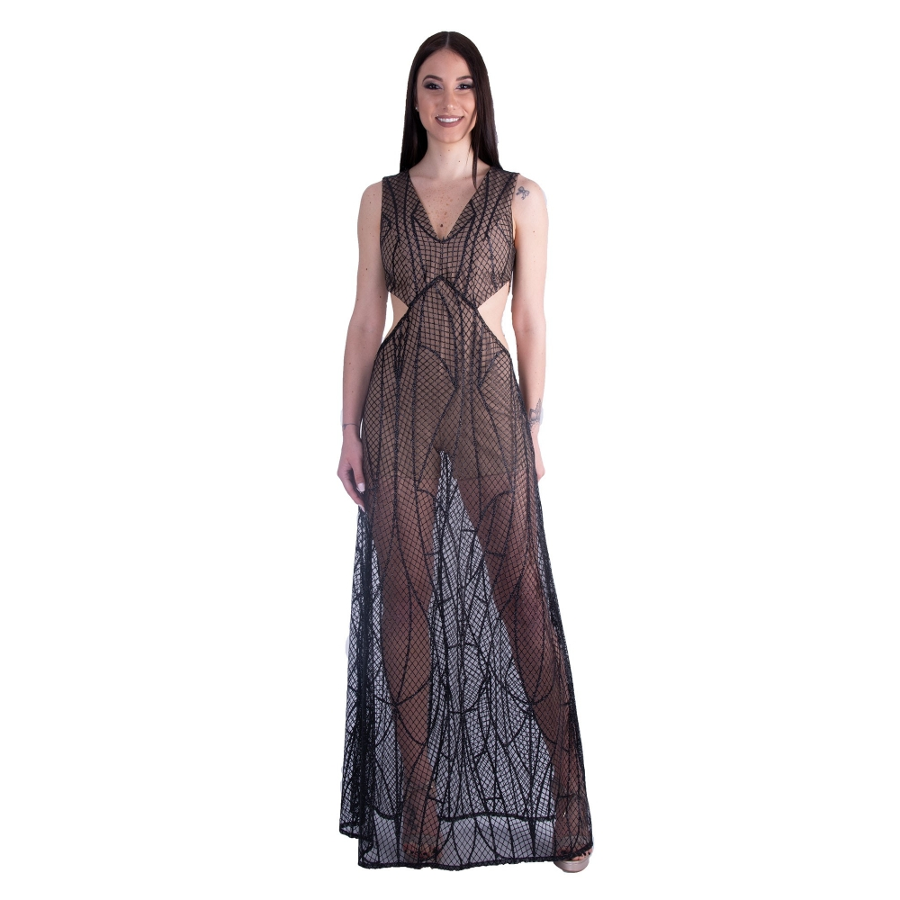 IRENE ANGELOPOULOS EVENING GLAMOROUS LONG DRESS IA MARRY BLACK