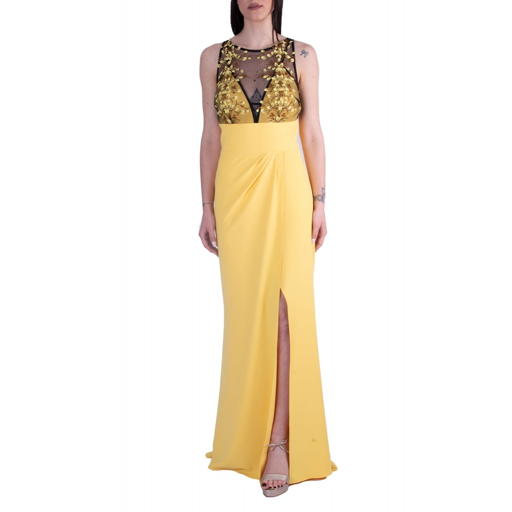 MISCHALIS EVENING LONG DRESS K5-8205 BLACK/YELLOW