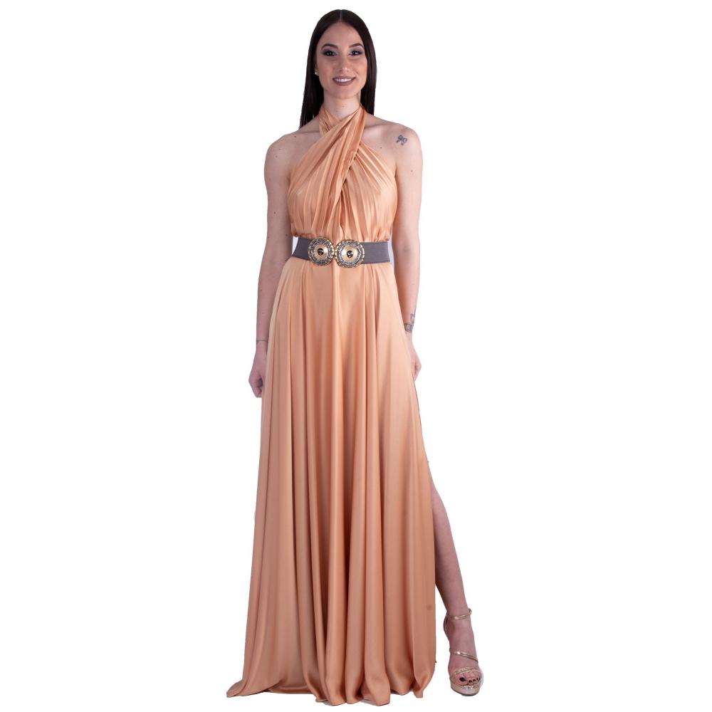 MISCHALIS EVENING GOLD SATIN LONG DRESS K5-8201 GOLD CARAMEL