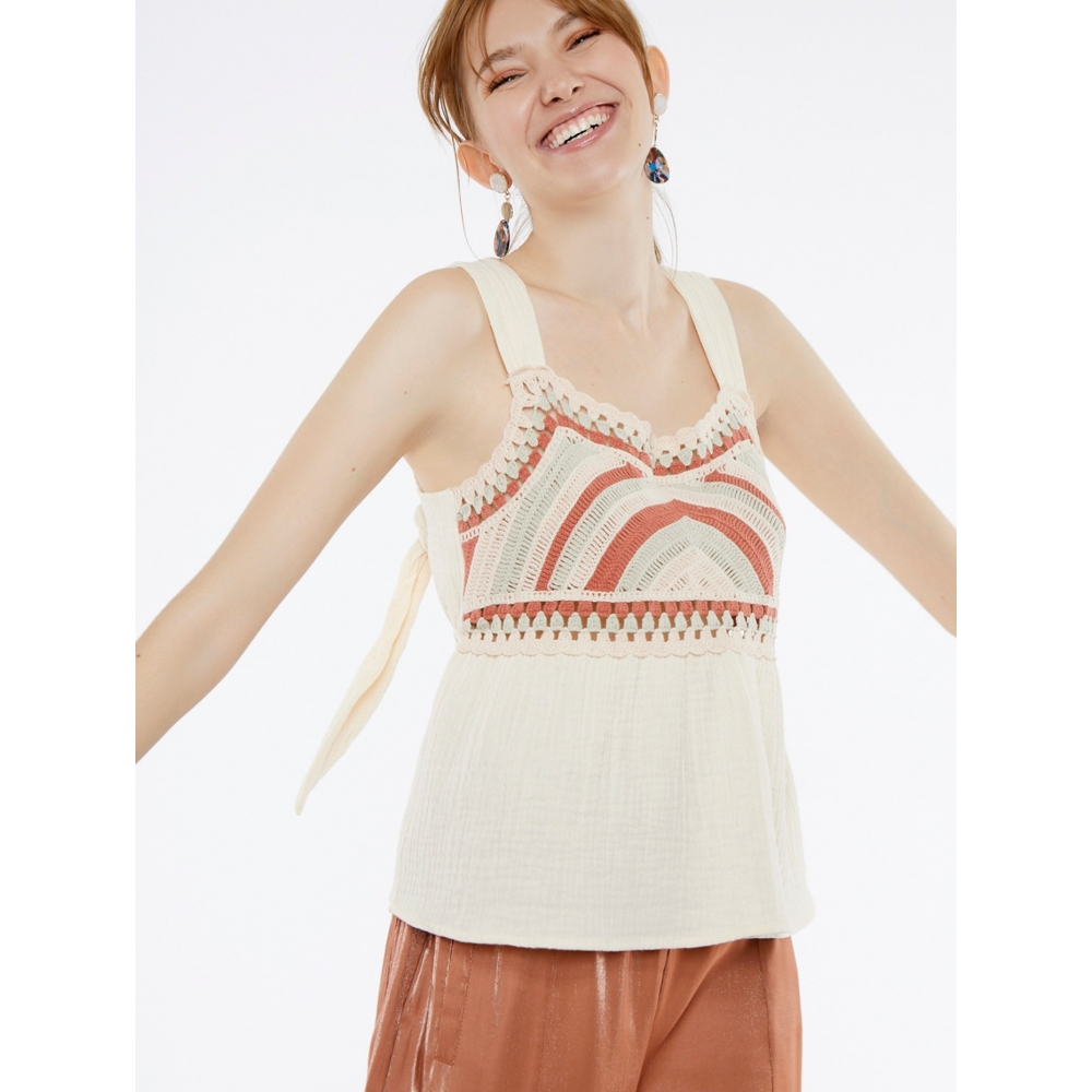 MEISIE WOMENS KNITTED TOP  M49- B055SP20 PAPRICA