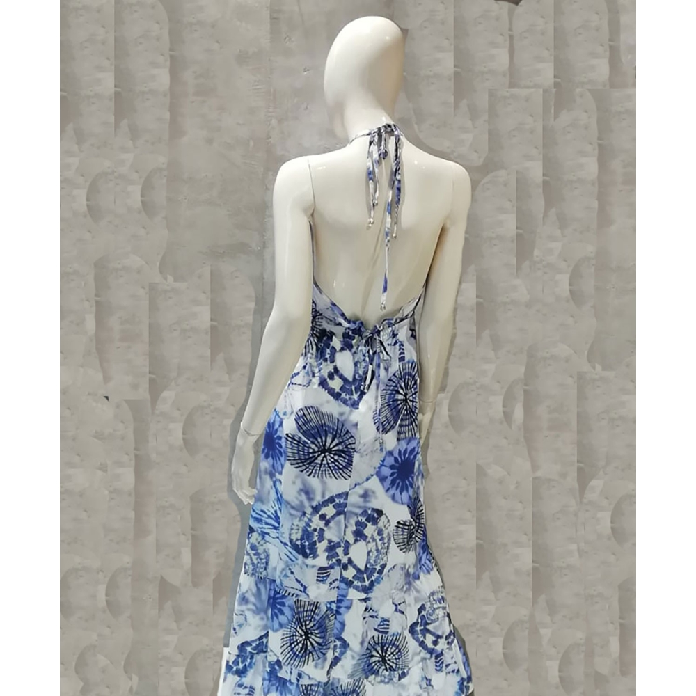 RINASCIMENTO LONG DRESS CFC0099148003 WHITE - BLUE
