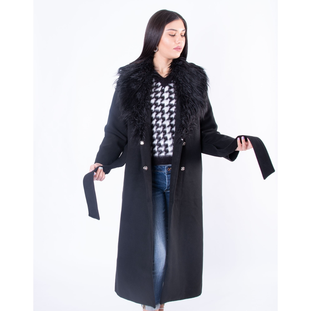 NA-KD FAUX FUR COLLAR COAT Μαύρο μακρύ παλτό 1018-004699 BLACK