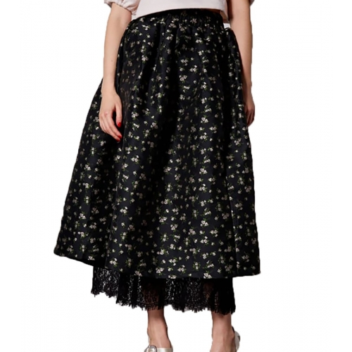 SISTER JANE CROWNED JACQUARD MIDI SKIRT  SKD009BLK BLACK